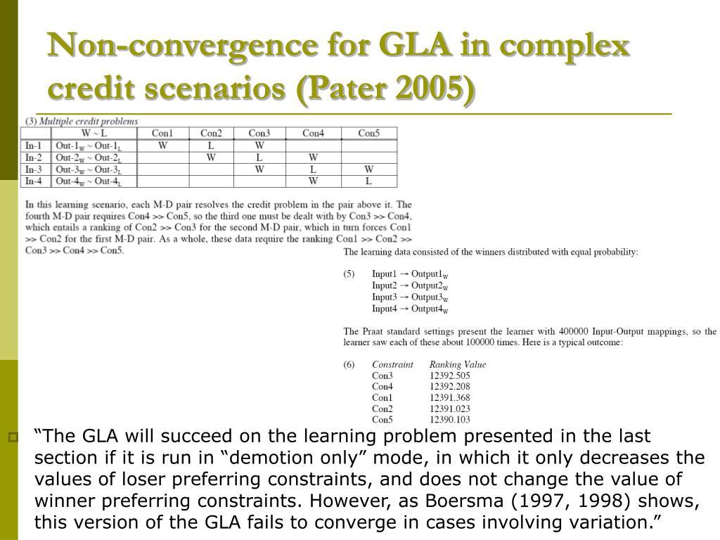 Non-convergence for GLA in complex credit scenarios (Pater 2005)