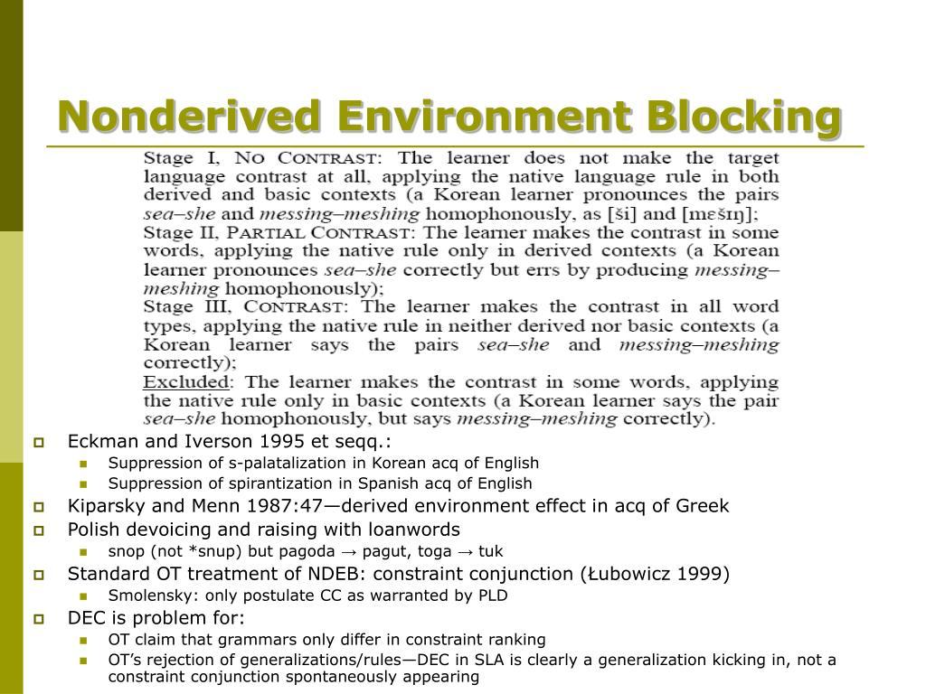 Nonderived Environment Blocking