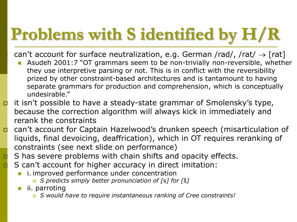 Problems with S identified by H/R