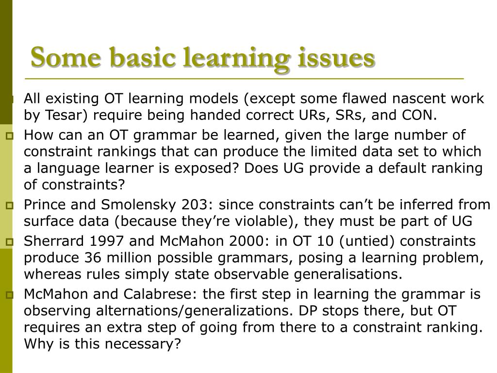 Some basic learning issues