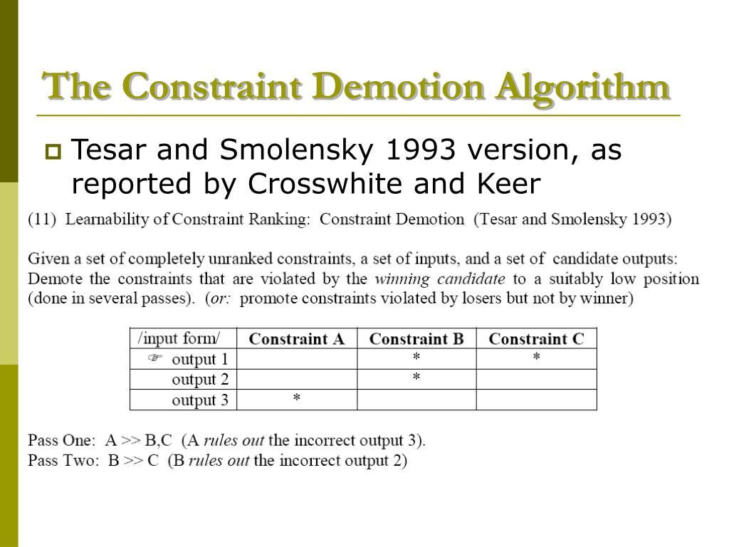 The Constraint Demotion Algorithm