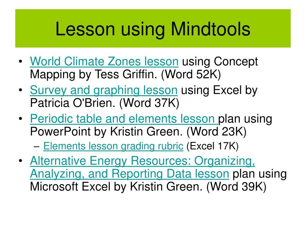 Lesson using Mindtools