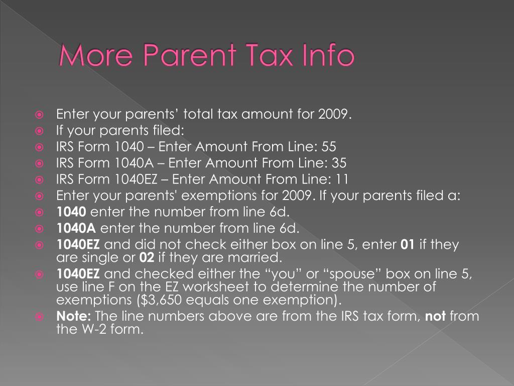 More Parent Tax Info