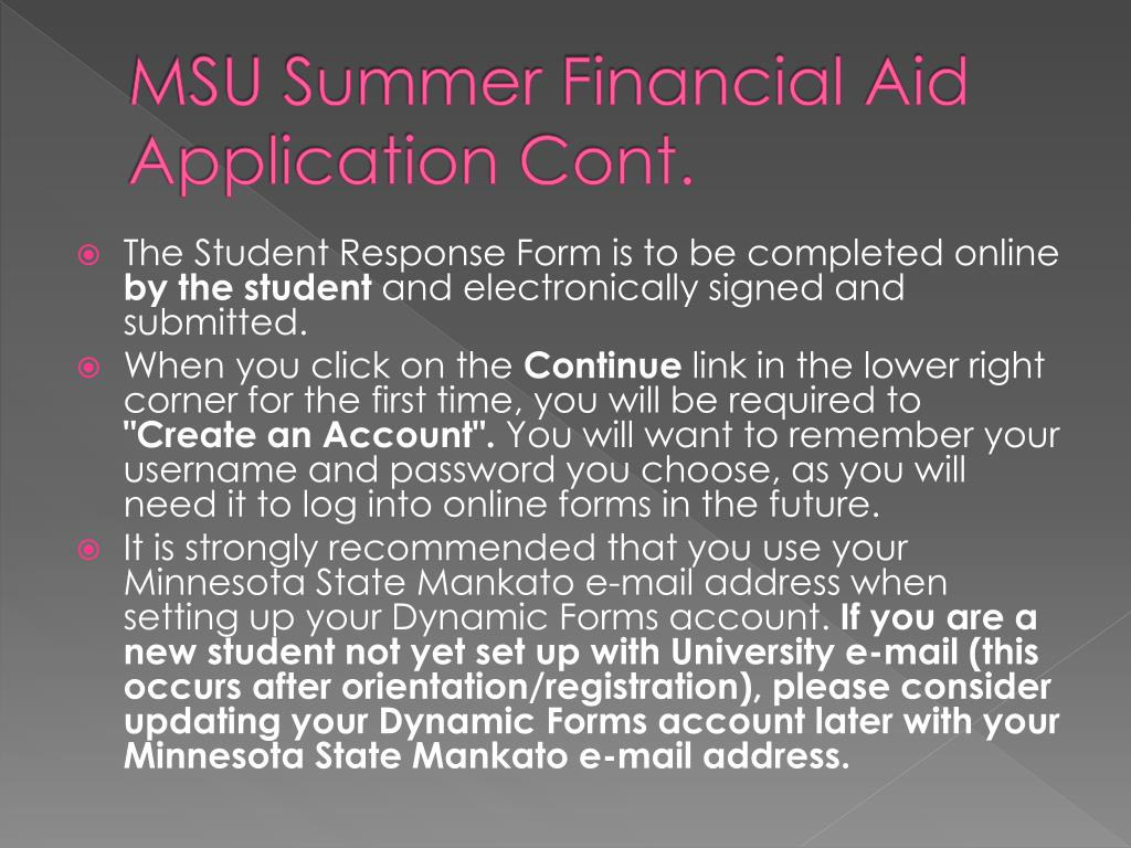 MSU Summer Financial Aid Application Cont.