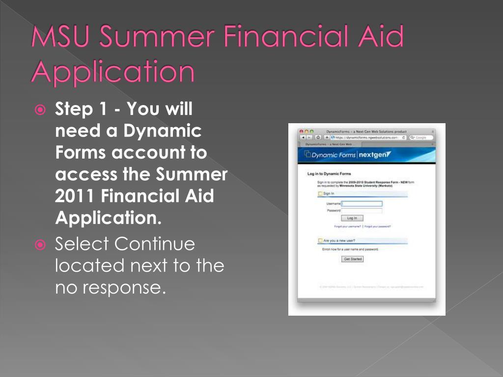 MSU Summer Financial Aid Application