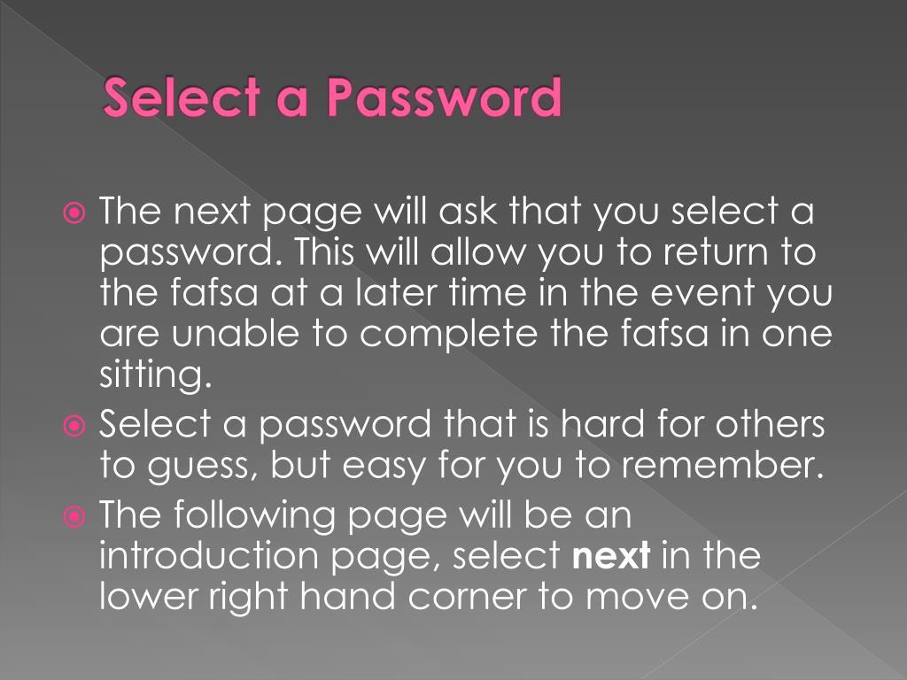Select a Password