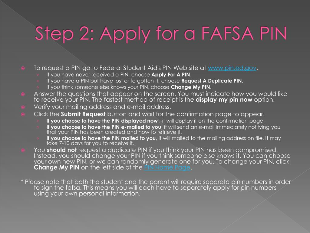 Step 2: Apply for a FAFSA PIN