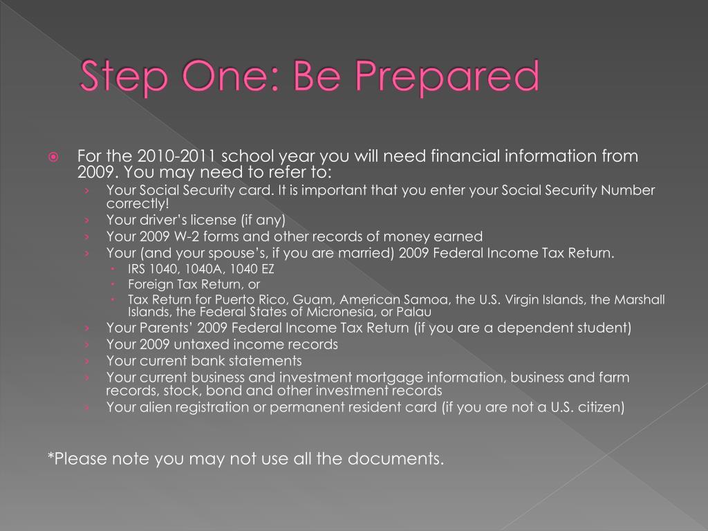 Step One: Be Prepared
