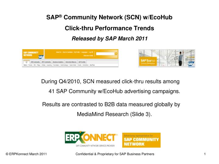 Sap community network scn w ecohub click thru performance trends released by sap march 2011