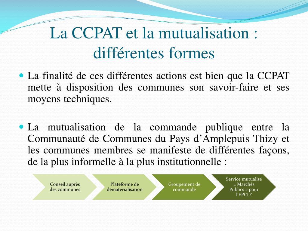 La CCPAT et la mutualisation : différentes formes