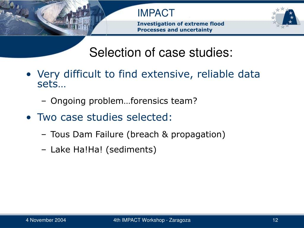Selection of case studies: