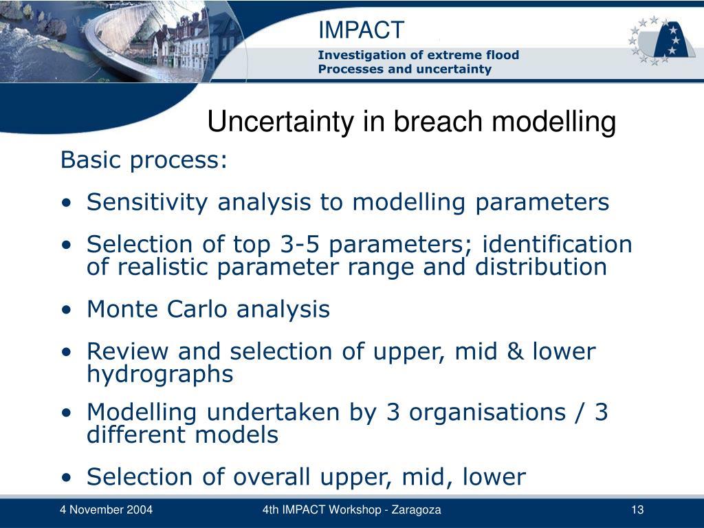Uncertainty in breach modelling