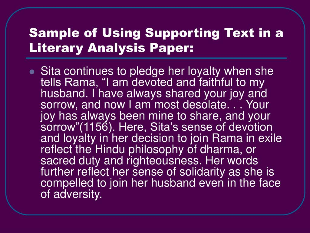 Sample of Using Supporting Text in a Literary Analysis Paper: