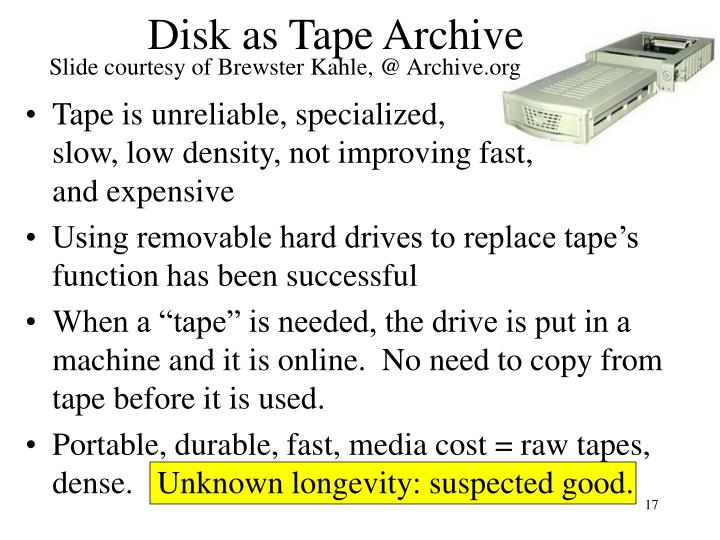 Slide courtesy of Brewster Kahle, @ Archive.org