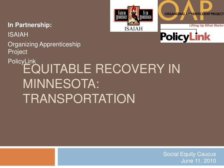 Equitable recovery in minnesota transportation