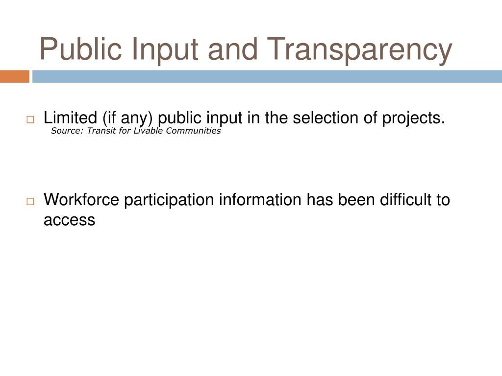 Public Input and Transparency
