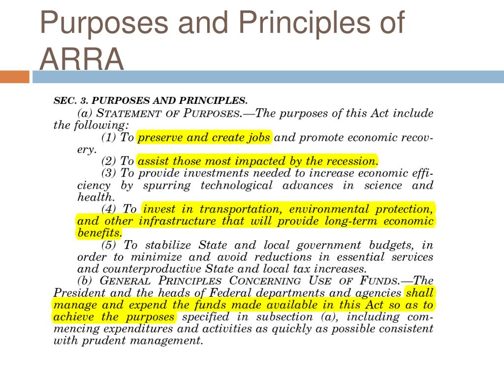Purposes and Principles of ARRA