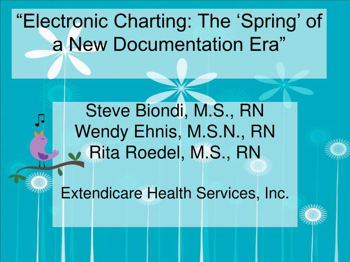 Electronic charting the spring of a new documentation era