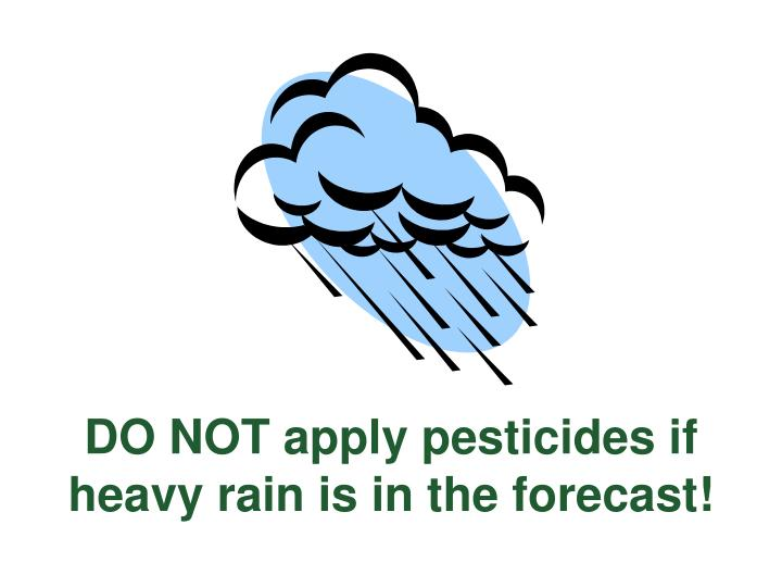 DO NOT apply pesticides if heavy rain is in the forecast!