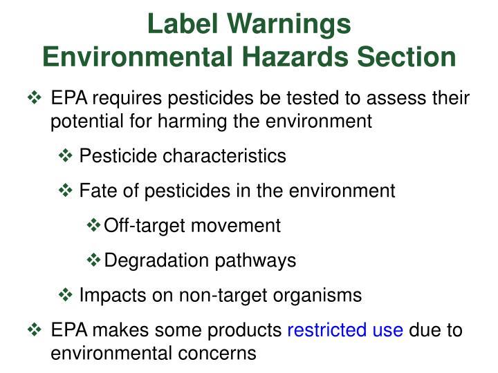 Label warnings environmental hazards section