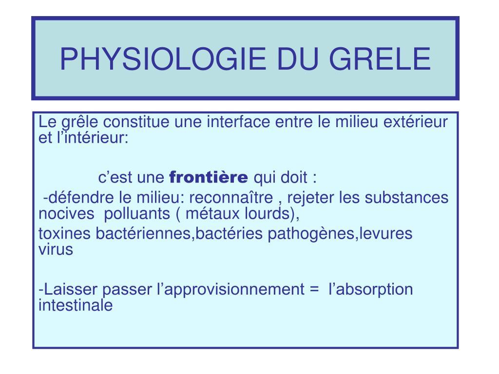 physiologie du grele