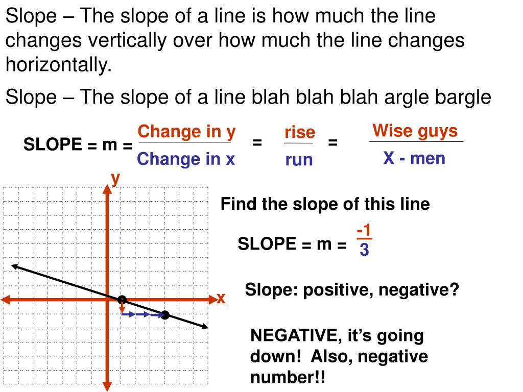PPT - Slope – The slope of a line is how much the line ...