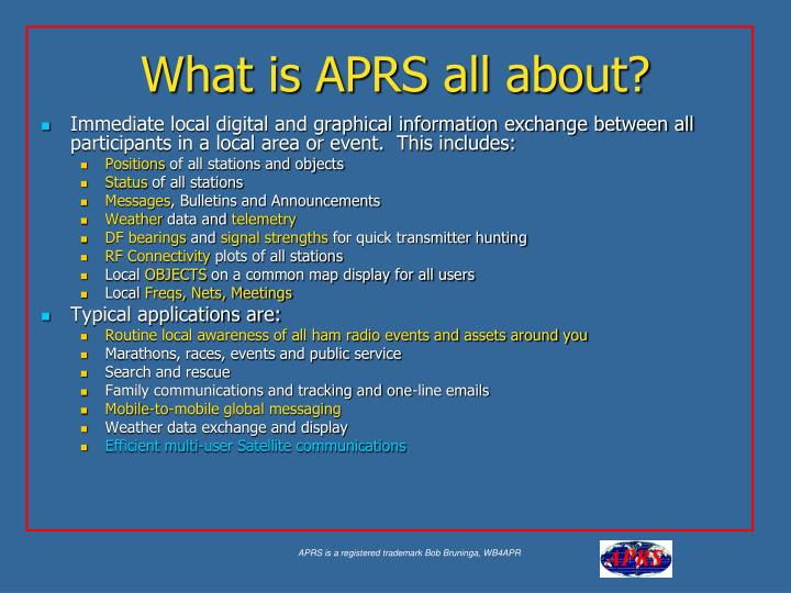 What is aprs all about