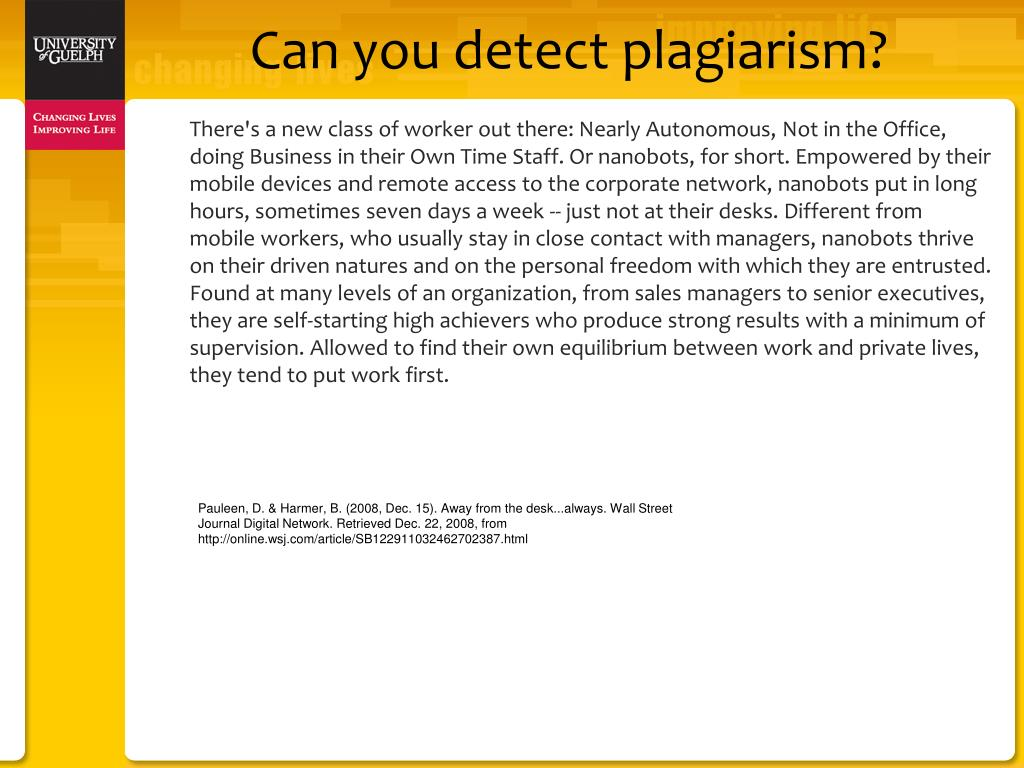 Can you detect plagiarism?