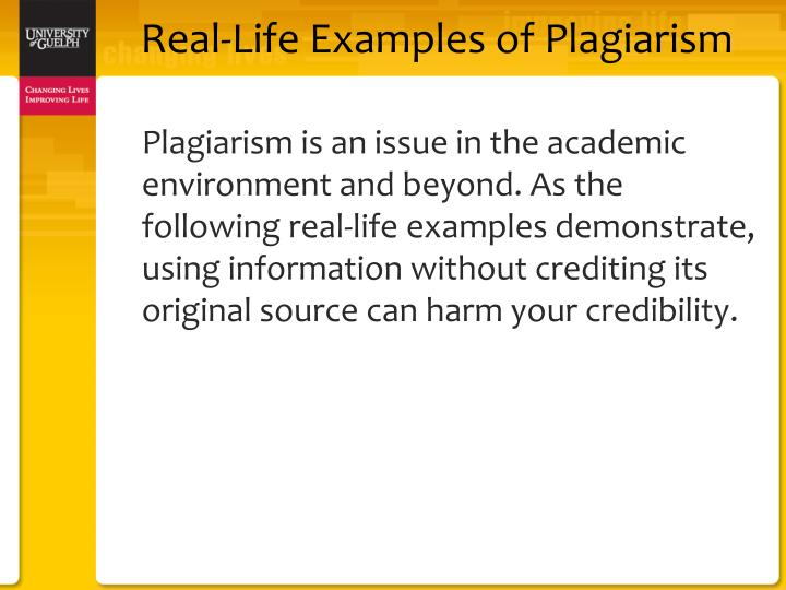 Real life examples of plagiarism