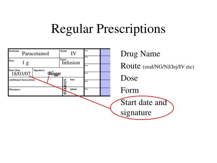 Regular Prescriptions