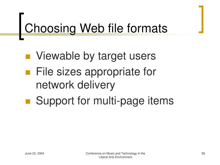 Choosing Web file formats