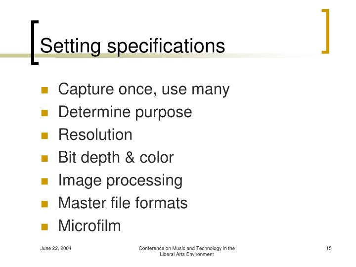 Setting specifications