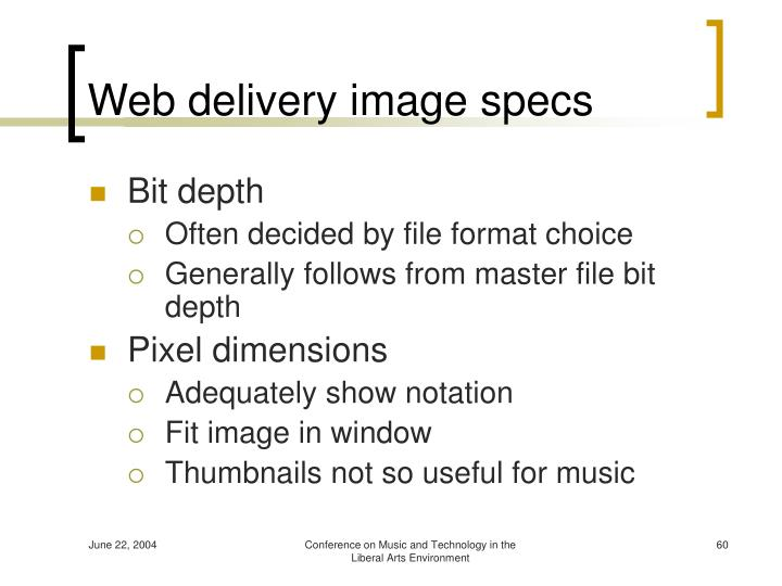 Web delivery image specs