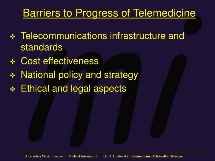 Barriers to Progress of Telemedicine