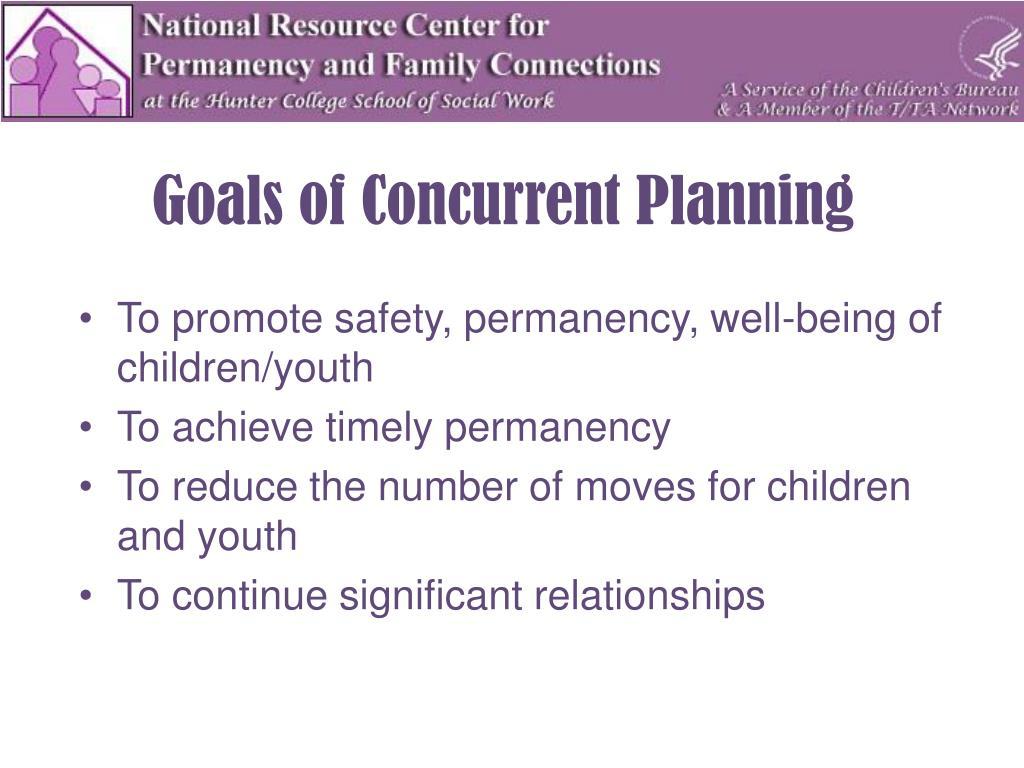 Goals of Concurrent Planning