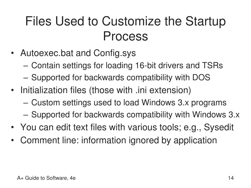 Files Used to Customize the Startup Process