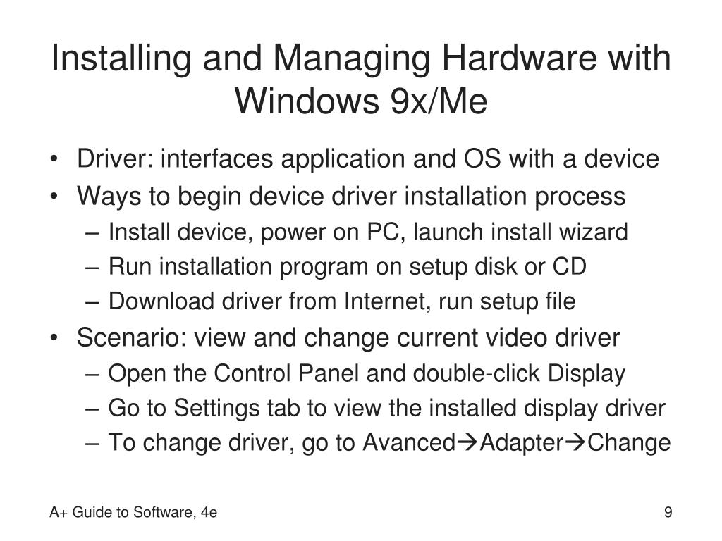 Installing and Managing Hardware with Windows 9x/Me