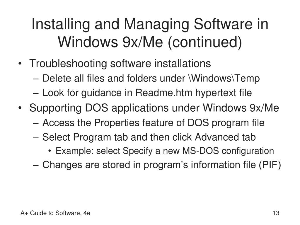 Installing and Managing Software in Windows 9x/Me (continued)