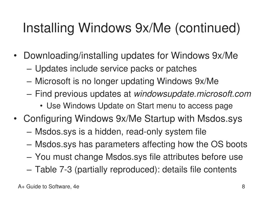 Installing Windows 9x/Me (continued)