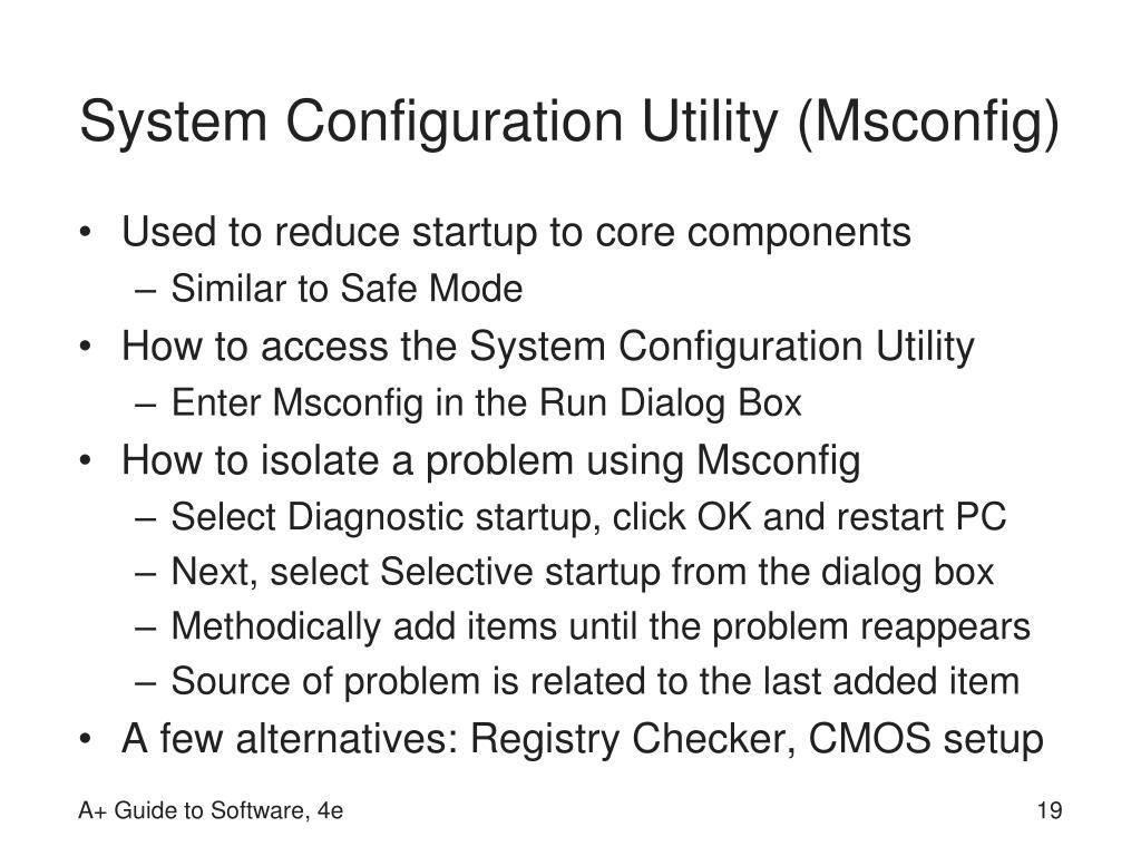 System Configuration Utility (Msconfig)