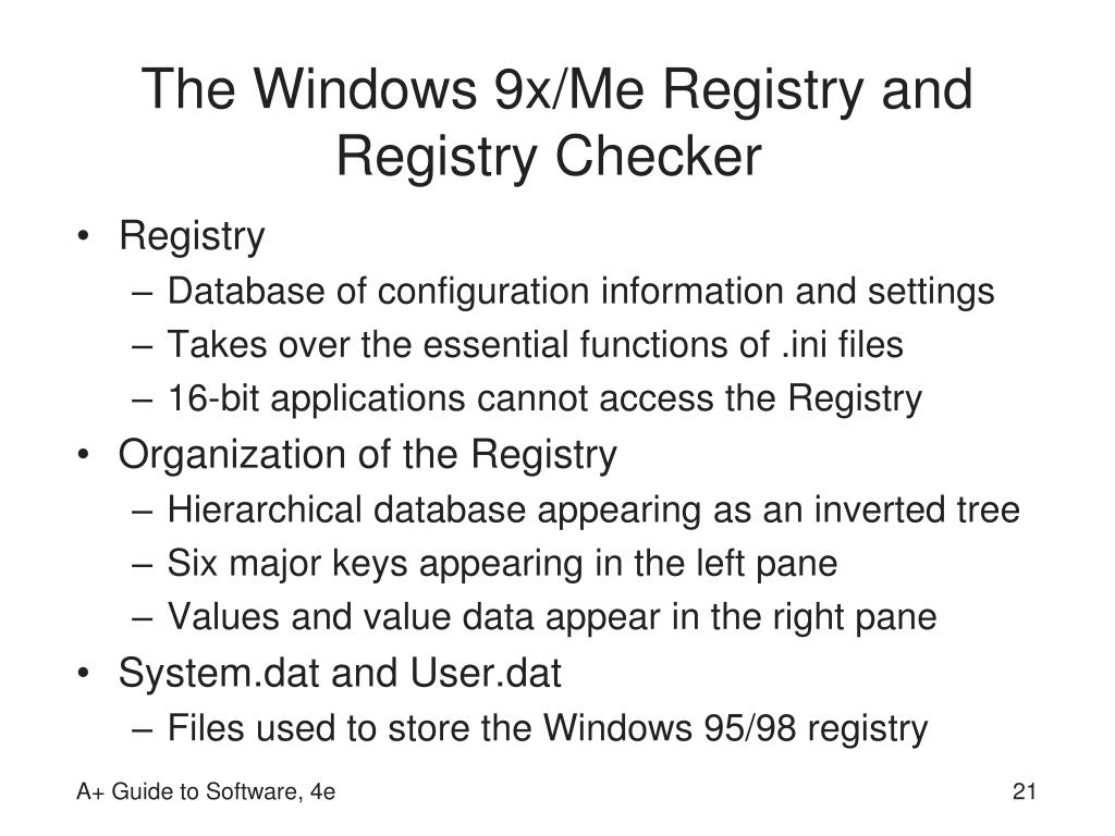 The Windows 9x/Me Registry and Registry Checker