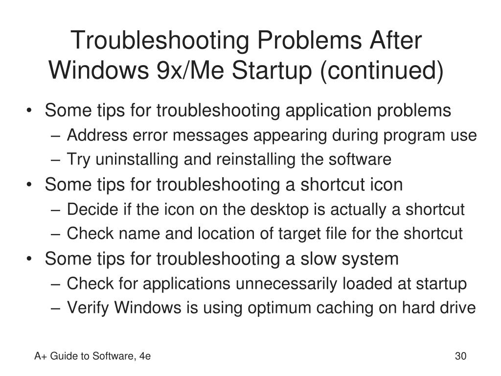 Troubleshooting Problems After Windows 9x/Me Startup (continued)