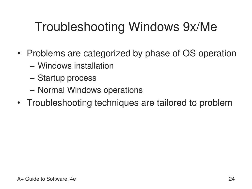 Troubleshooting Windows 9x/Me