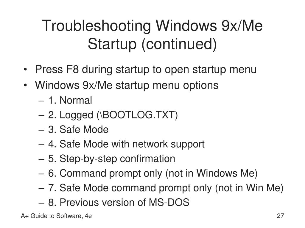 Troubleshooting Windows 9x/Me Startup (continued)