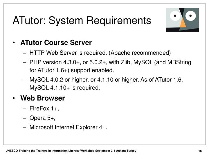 ATutor: System Requirements