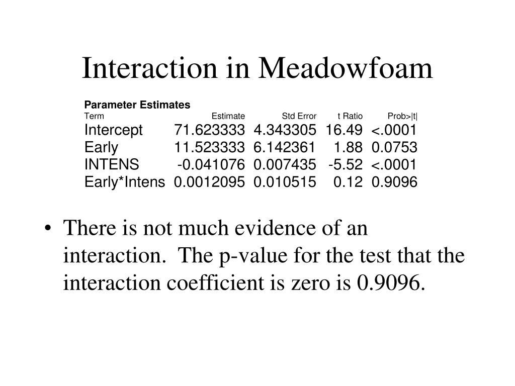 Interaction in Meadowfoam