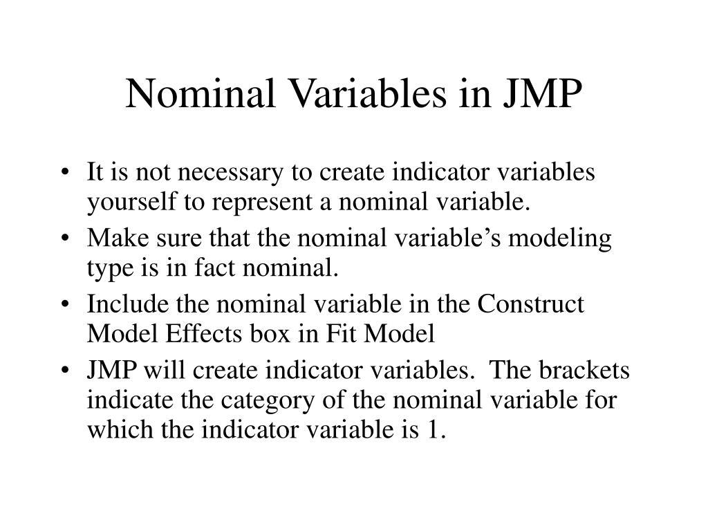 Nominal Variables in JMP