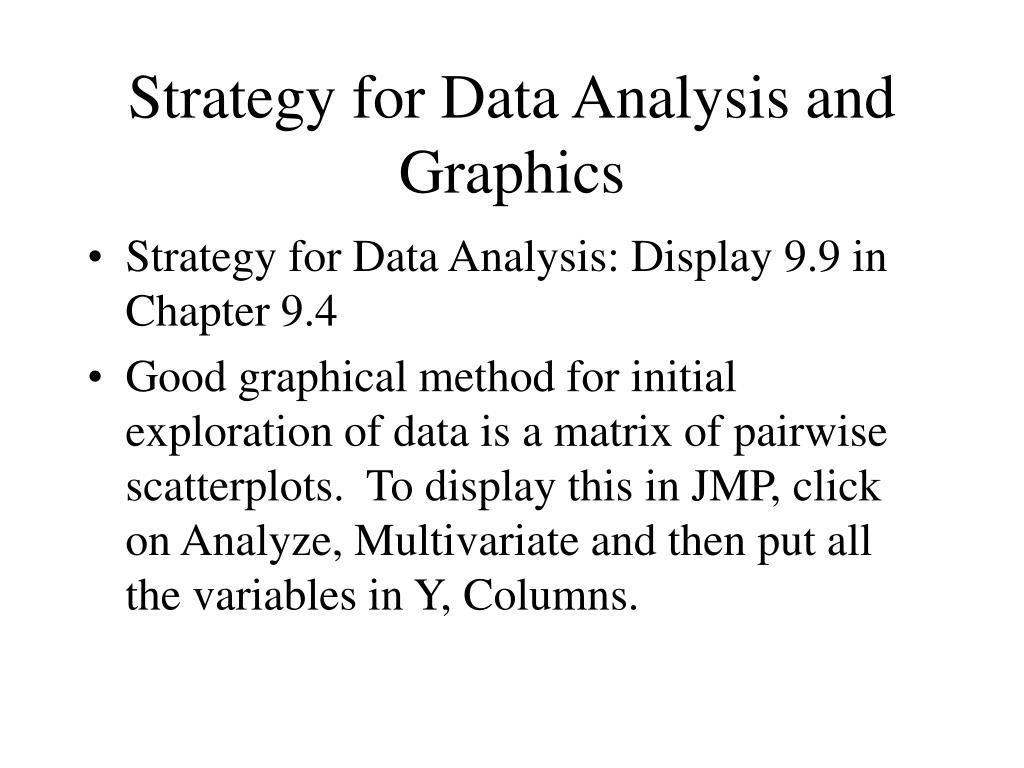 Strategy for Data Analysis and Graphics