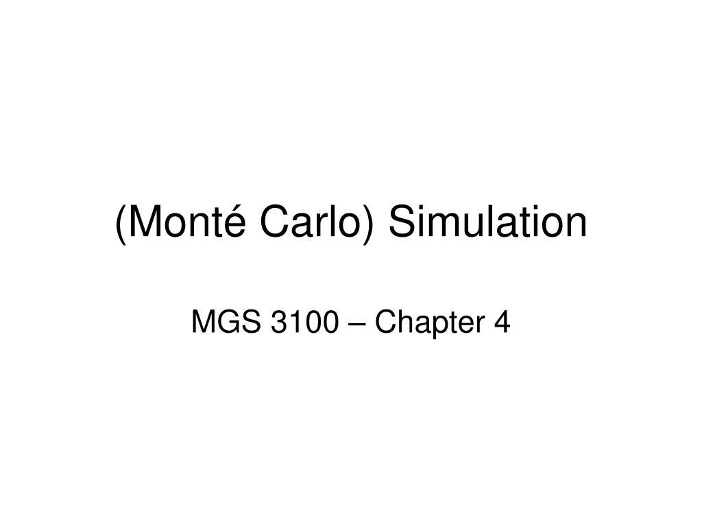 (Monté Carlo) Simulation