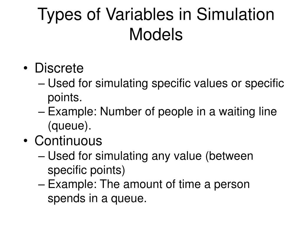Types of Variables in Simulation Models